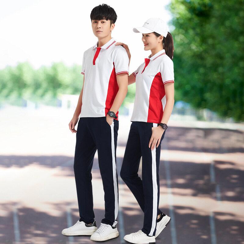 夏季新款学生校服 中学生透气运动套装初中生短袖校服两件套班服