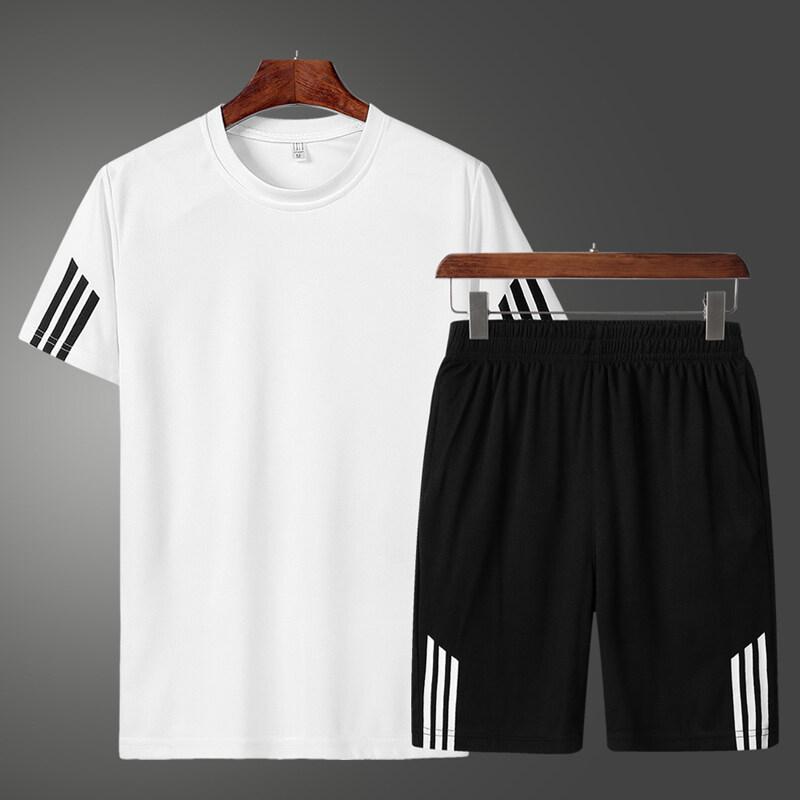 135款三条杠公版运动套装男夏季薄款速干圆领短袖宽松短裤健身跑步衣