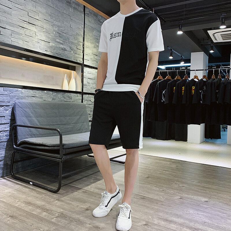 A906运动套装男夏季新款男士韩版修身青少年百搭休闲跑步潮流两件套