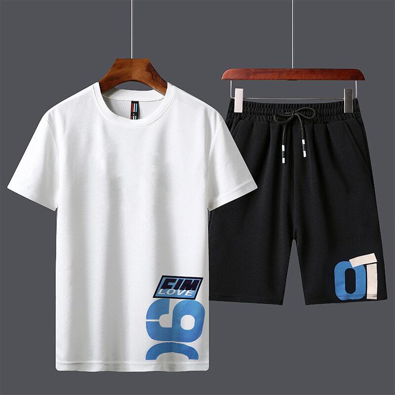 A908短袖套装男印花夏季新款男士韩版修身潮流青年百搭休闲短裤两件套