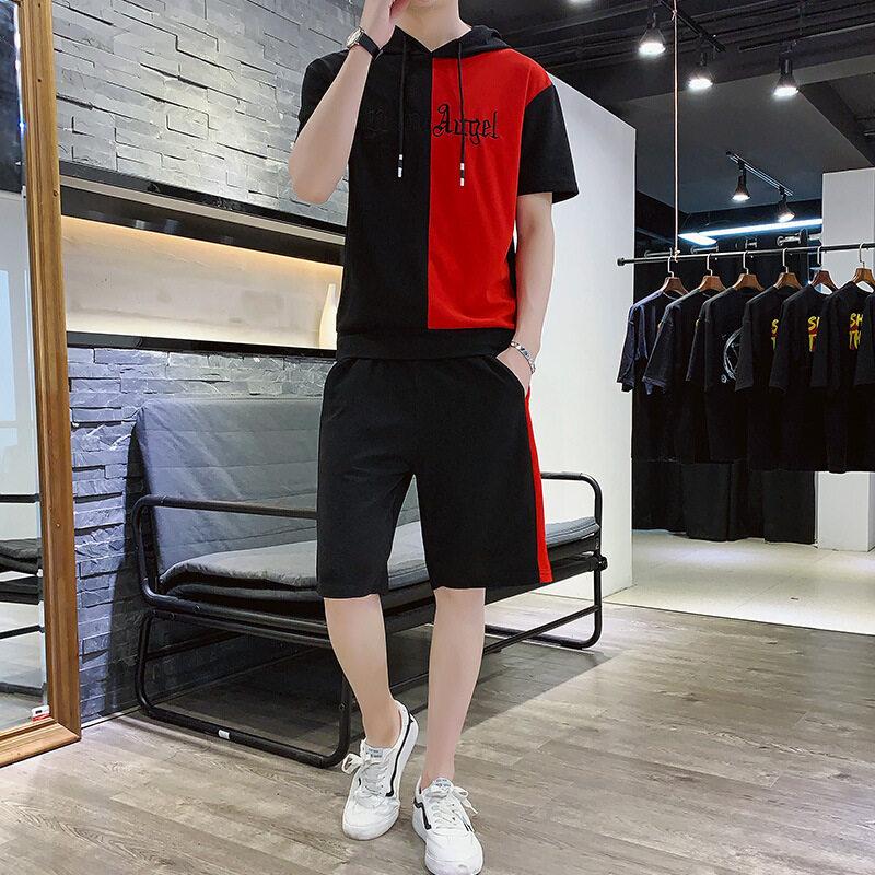 短袖套装男两件套2020夏季新款男士韩版修身拼接撞色休闲两件套潮