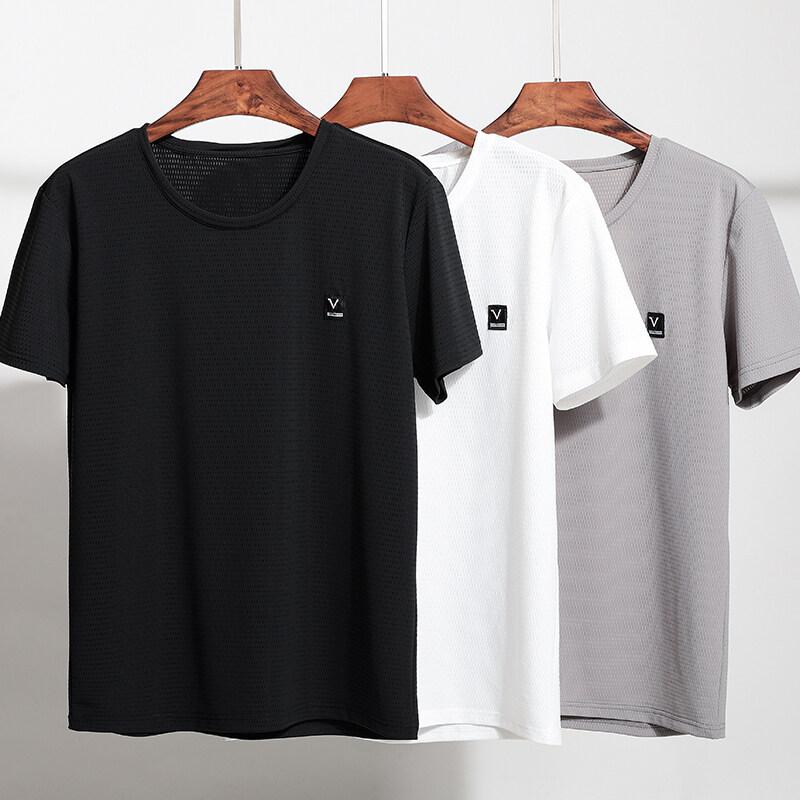 夏季新款冰丝薄款男士休闲短袖t恤男装透气速干圆领T恤男跑步衣