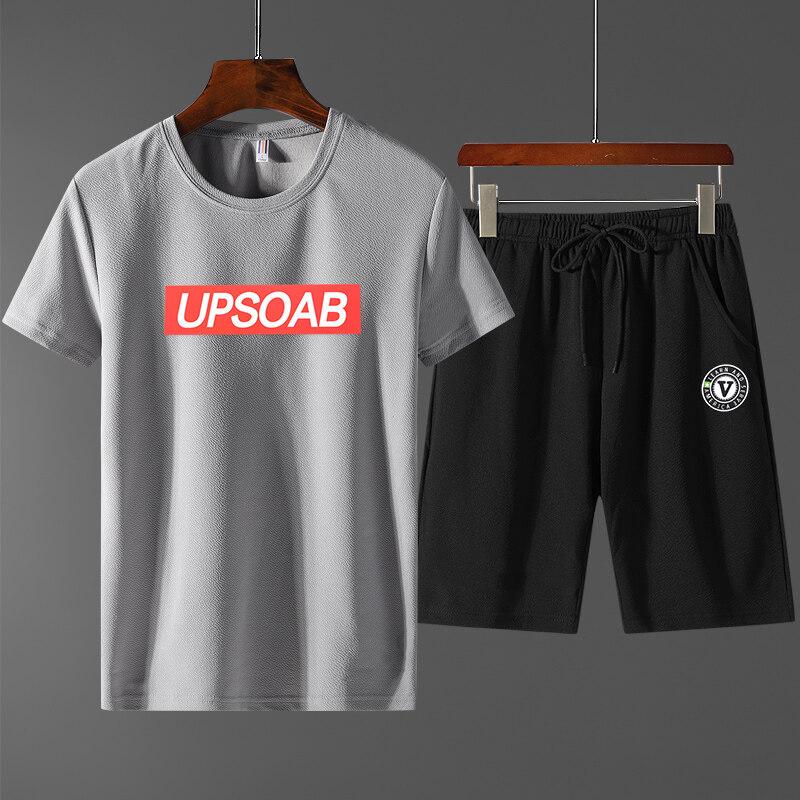 套装蚂蚁皱新款短袖套装男学生大码宽松T恤短裤两件运动套韩版国