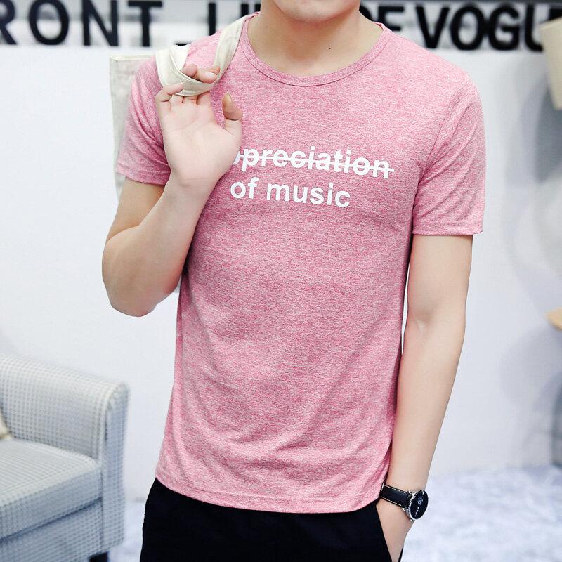 夏季男款韩版远动速干短袖T恤修身圆领半袖潮冰丝印花T恤男