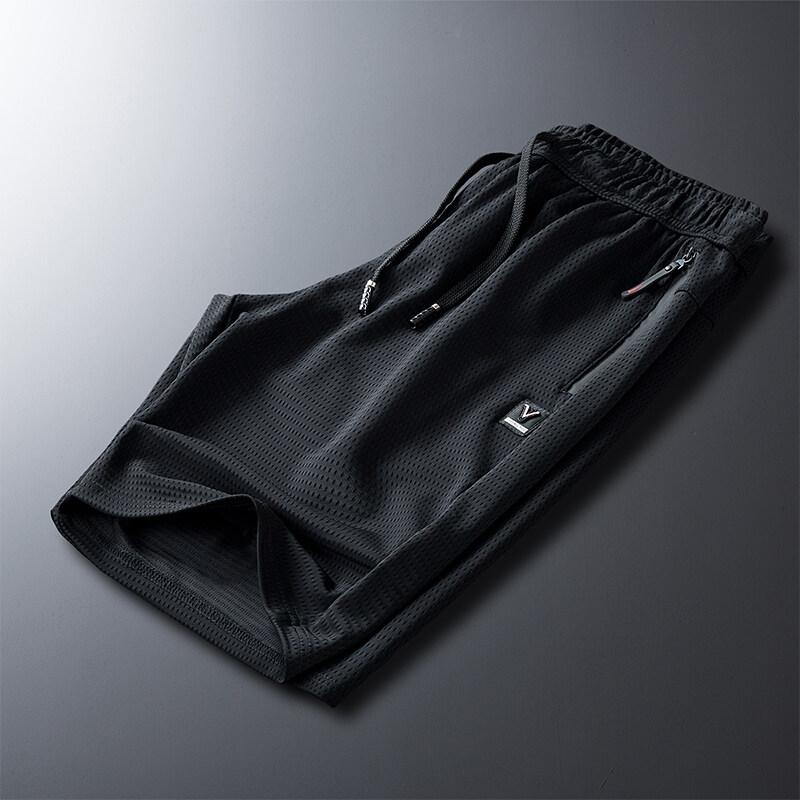 爆款短款冰丝网眼五分裤男士宽松大裤衩半截裤中裤空调短裤