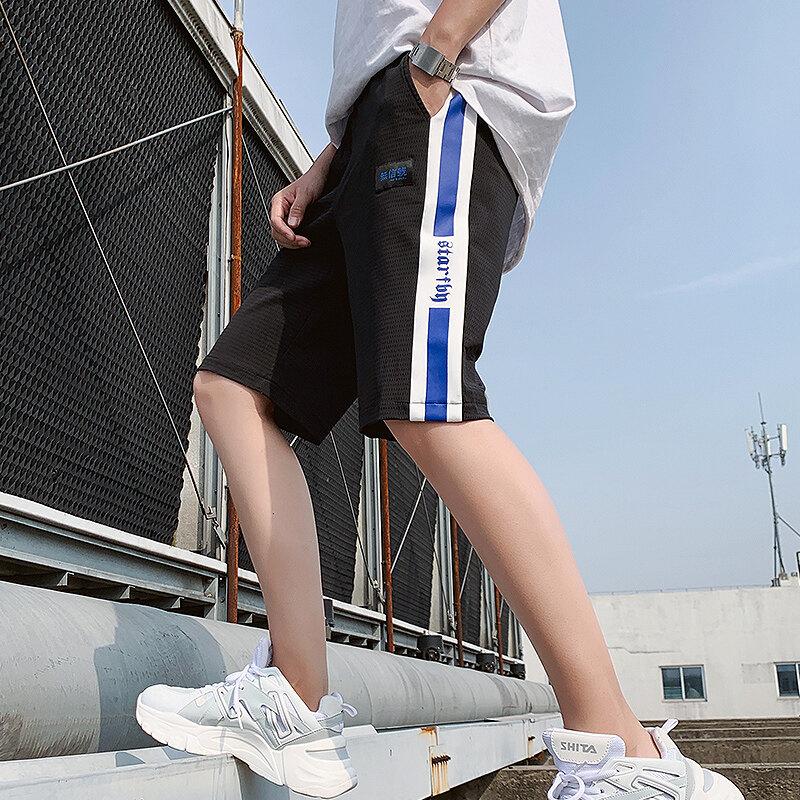 2020男士夏季短裤网格宽松休闲工装中裤五分裤潮牌直筒运动裤