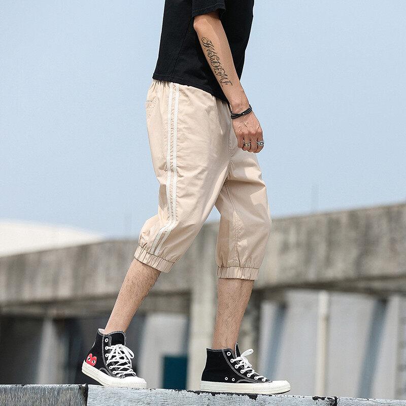 纯棉二条杠工装短裤男潮牌夏季修身休闲中裤男士工装五分裤潮
