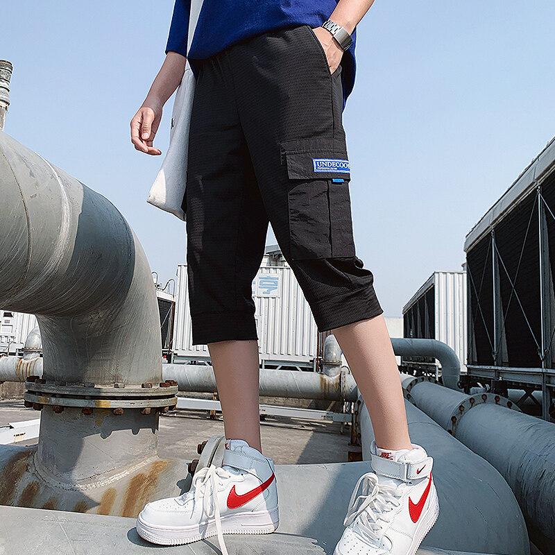 2020男士夏季短网格宽松休闲工装中裤五分裤潮牌直筒运动裤