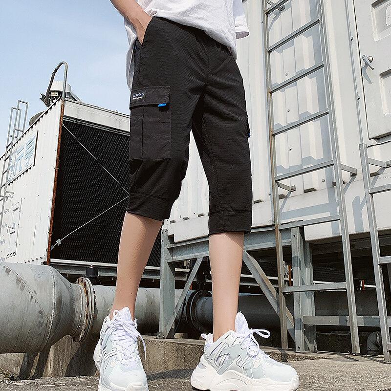2020男士夏季短裤宽松休闲网格工装中裤五分裤潮牌直筒运动裤
