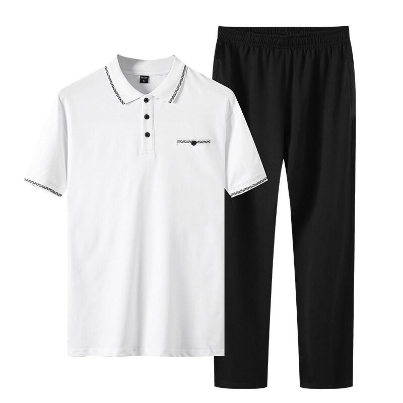 中老年运动套装男POLO衫棉短袖t恤长裤休闲两件套爸爸