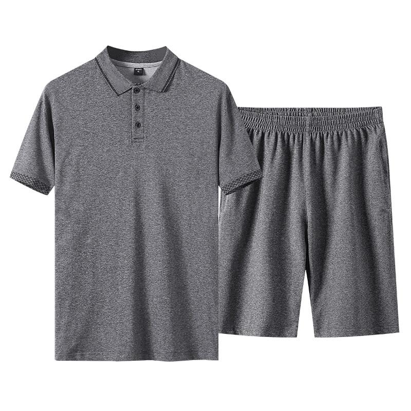 中老年运动套装男POLO衫棉短袖t恤短裤休闲两件套爸爸