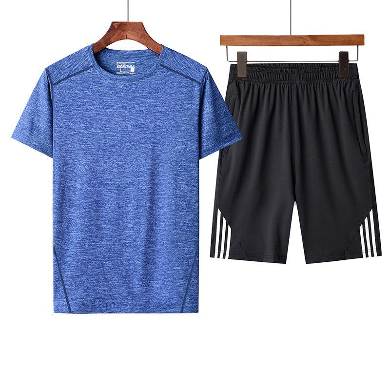 男士夏季速干套装男中老年套装品牌套装花花公子T恤三条杠短裤