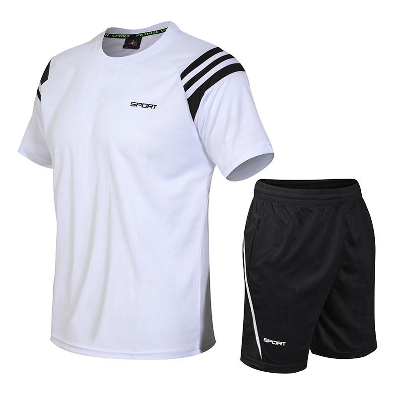 801夏季男士健身房运动套装跑步服速干吸汗透气薄款宽松短袖短裤健身