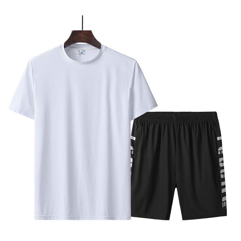 9801短套夏季短袖套装男冰丝T恤五分裤运动短袖短裤男士短套夏
