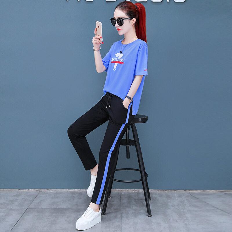 MDLY8227款长裤套装图荣夏季短袖休闲套装女韩版时尚印花长裤跑步运动服两件套女装女
