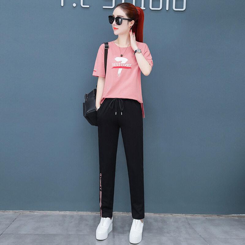 MDLY8228款印花款长裤套装图荣短袖长裤休闲套装女夏季新款韩版时尚印花棉质跑步运动两件套