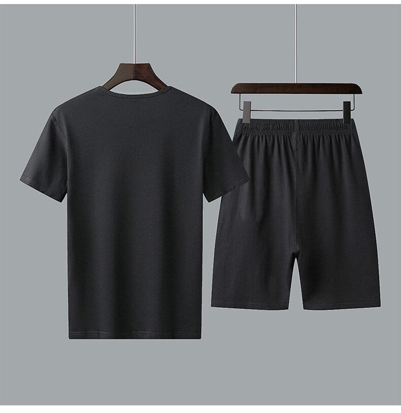 916纯棉中老年夏季短袖短裤休闲运动套装爸爸装