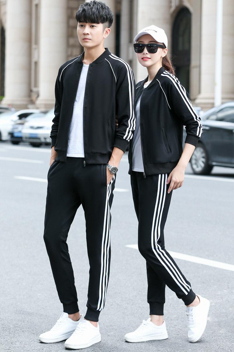 XG6179女士秋季新款运动套装男春秋青年学生跑步情侣运动棒球服情侣