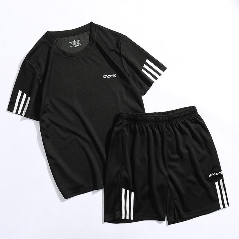 3tg运动套装男士短袖2020春夏健身速干跑步服短裤两件套