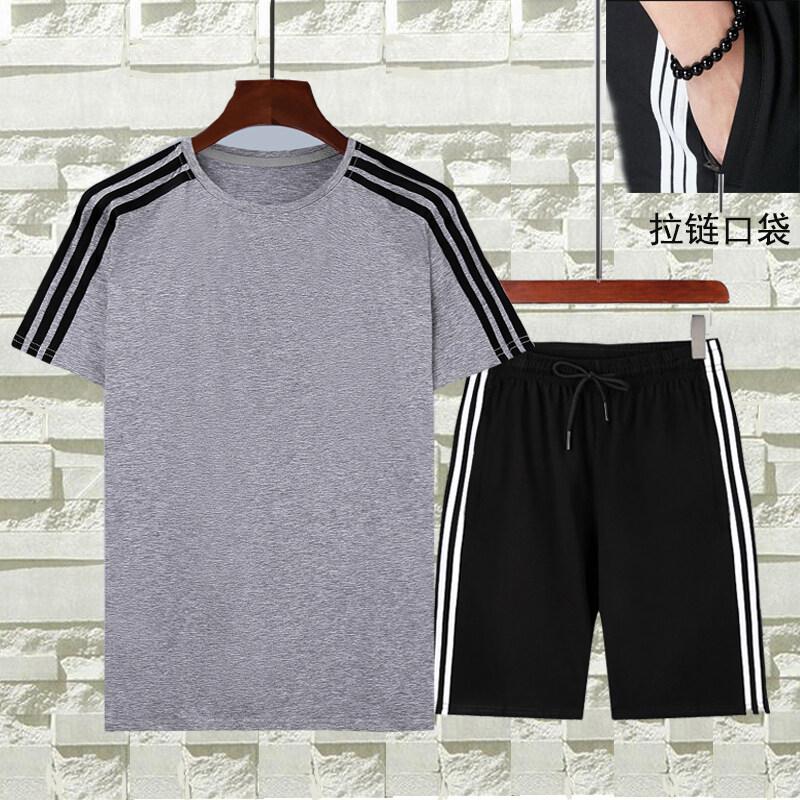 8810纯棉夏季薄款休闲运动短袖套装男士跑步体恤短裤三条杠套装五分裤