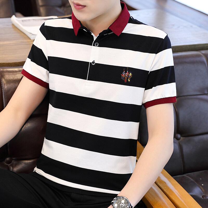 BJ8013条纹款夏季新款男士短袖T恤条纹全棉薄款商务翻领男装polo衫男款