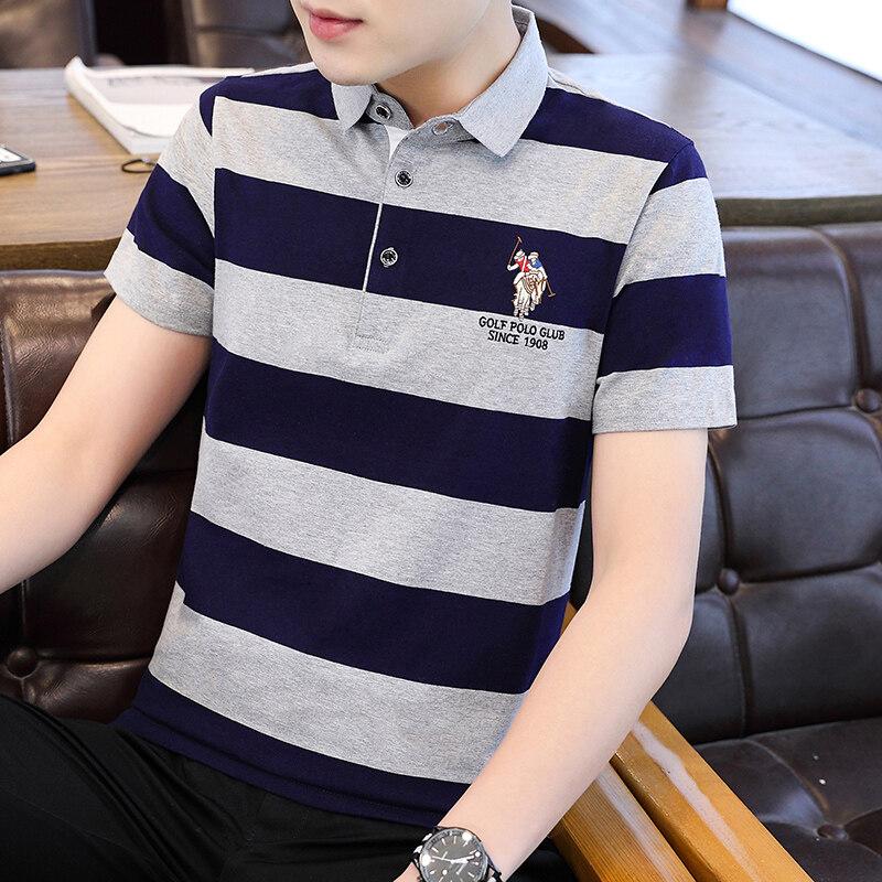 BJ8015条纹款夏季新款男士短袖T恤条纹全棉薄款商务翻领男装polo衫男款