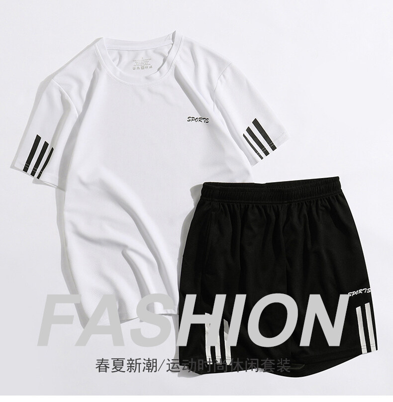 2802(大码)夏季透气运动套装男短袖短裤宽松速干T恤短款五分裤休闲跑步套装