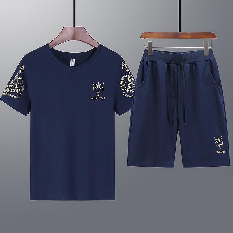 65222020新款爆款鱼叉休闲运动套装休闲裤短袖t恤潮流两件套男