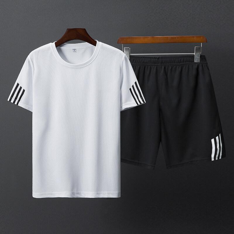 2803(无标)夏季透气运动套装男短袖短裤宽松速干T恤短款五分裤休闲跑步套装