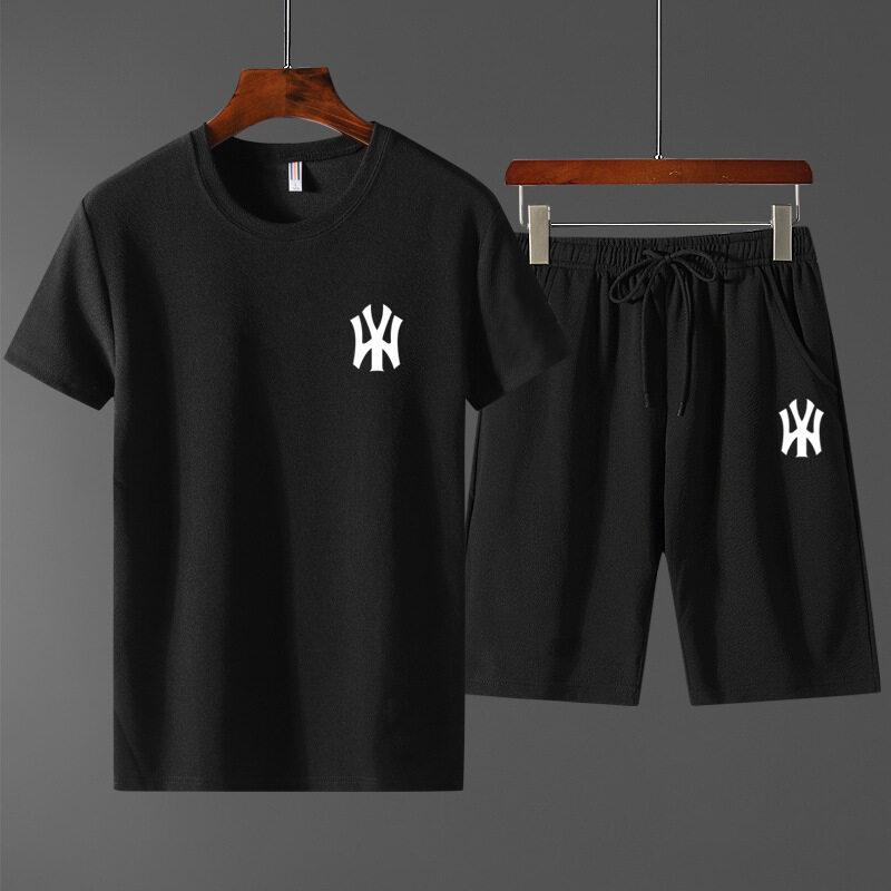 2232020夏季短袖T恤运动套装男士韩版修身NY印花薄款时尚两件套套装