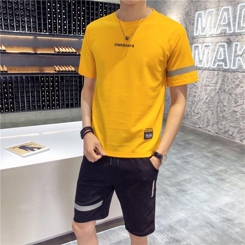 T312短袖T恤男士夏季套装韩版潮流两件套休闲装衣服裤子帅气