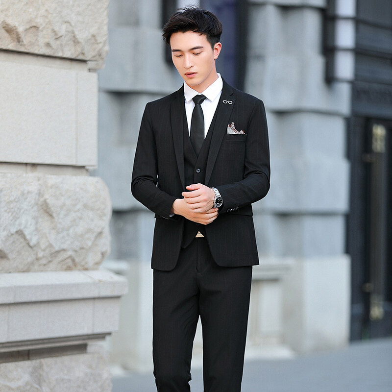 1908西服套装3件套春季新款男士韩版休闲小西装男修身男装
