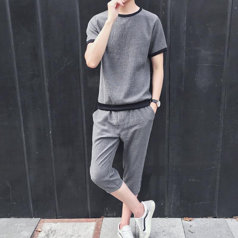 1827夏季短袖冰丝t恤男士套装韩版潮流宽松休闲夏天亚麻衣服男装夏装
