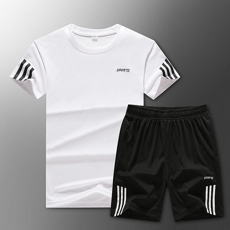 M88男装t恤套装2020夏季新款运动男短袖短裤套装男运动短袖套装批发