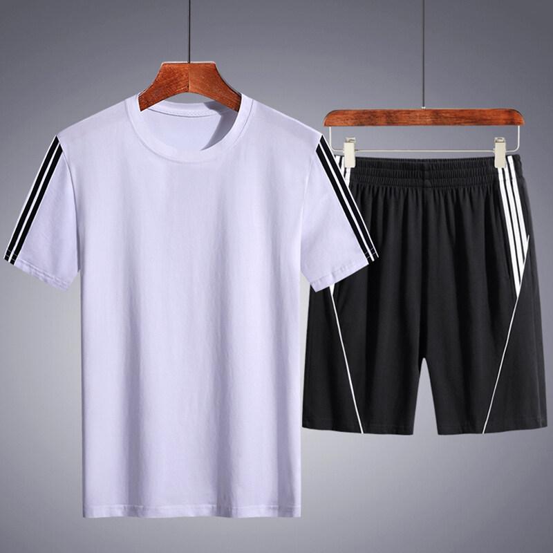 8216纯棉短袖T恤五分短裤运动套装5XL-8XL  大码链接