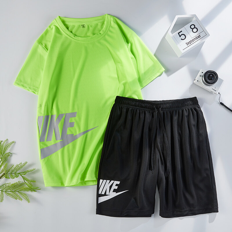 2809夏季运动套装男短袖T恤五分短裤