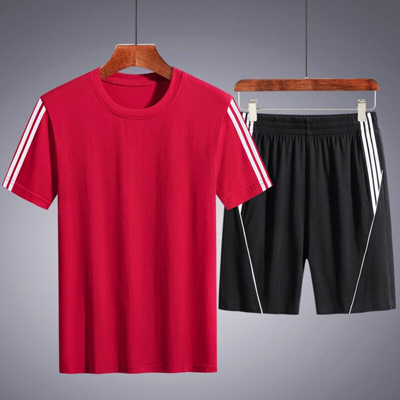 8216纯棉短袖T恤五分短裤运动套装M-4XL  小码链接