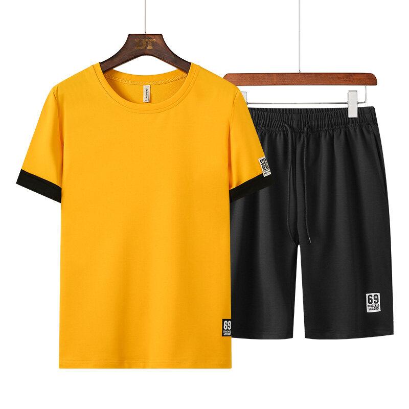 2352020夏季空版套装青年修身休闲两件套