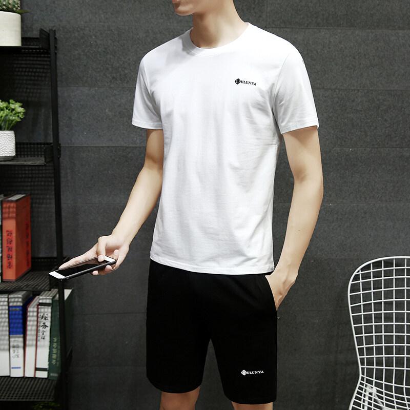 PT7502纯棉短袖T恤套装男夏季韩版潮流修身棉麻男装夏天衣服休闲两件套