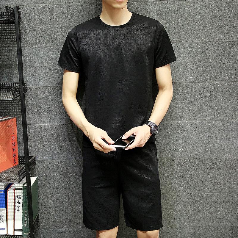 PT7568运动套装男夏季健身短袖T恤男士速干衣服跑步宽松休闲运动服学生