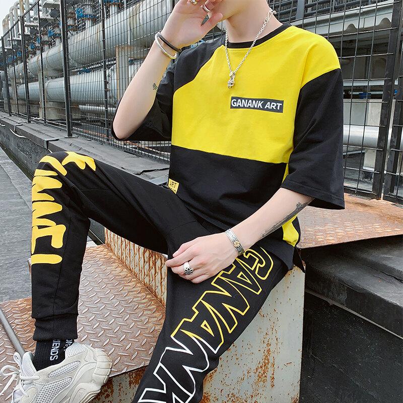 PT7555男t恤五分袖ins夏装韩国潮2020新款圆领嘻哈两件一件代发