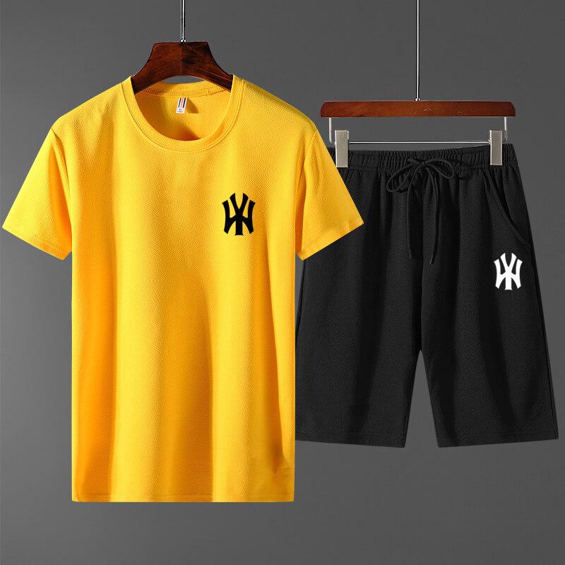 65252020新款休闲裤运动套装男士短袖T恤青年短款五分裤蚂蚁皱