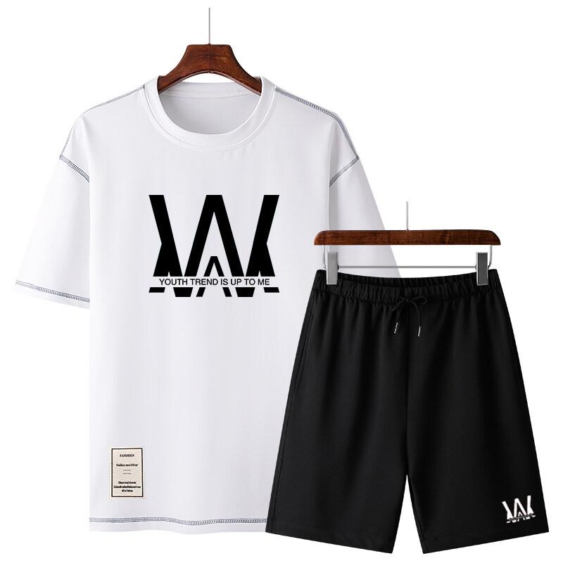 50252020休闲运动套装夏季新款潮流圆领卫衣男宽松潮流百搭两件套