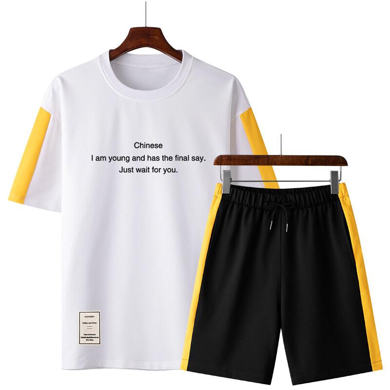 50282020休闲运动套装夏季新款潮流圆领卫衣男宽松潮流百搭两件套