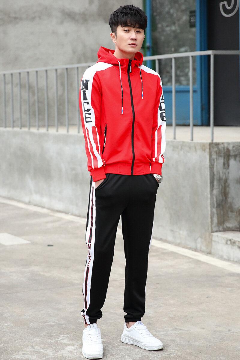 6802运动套装男春季跑步运动服男士2020新款春秋两件套卫衣情侣