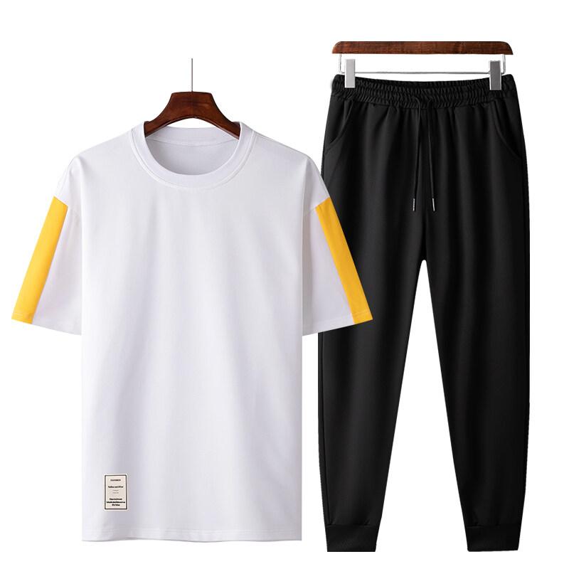 60202020夏季套装男士短袖卫衣套装两件套潮流休闲青年帅气T恤套