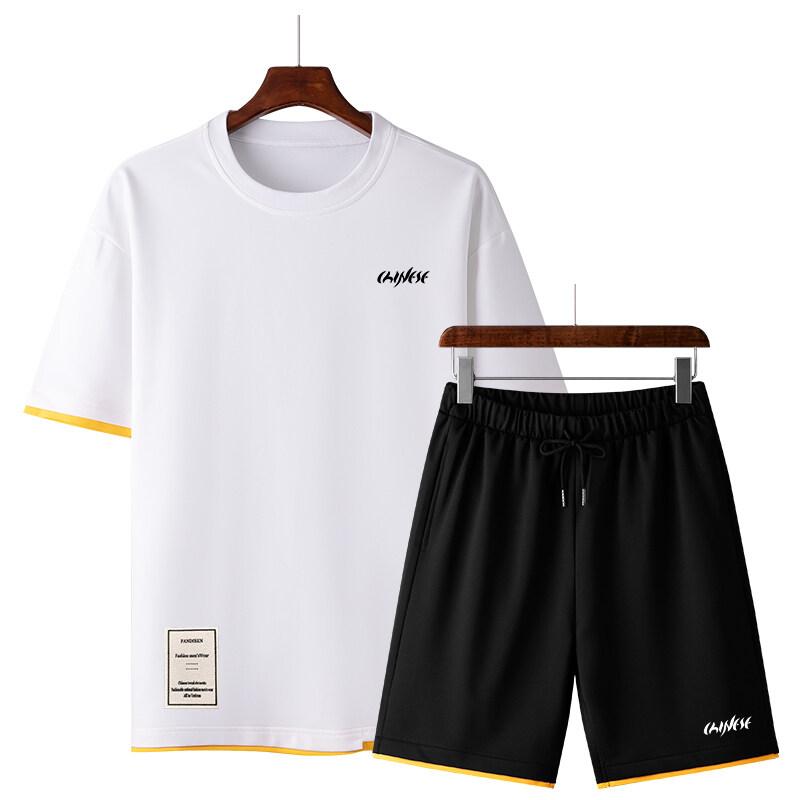 50222020休闲运动套装夏季新款潮流圆领卫衣男宽松潮流百搭两件套