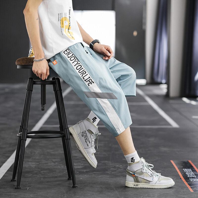 K-7372020夏季薄款休闲短裤男士宽松七分裤沙滩裤