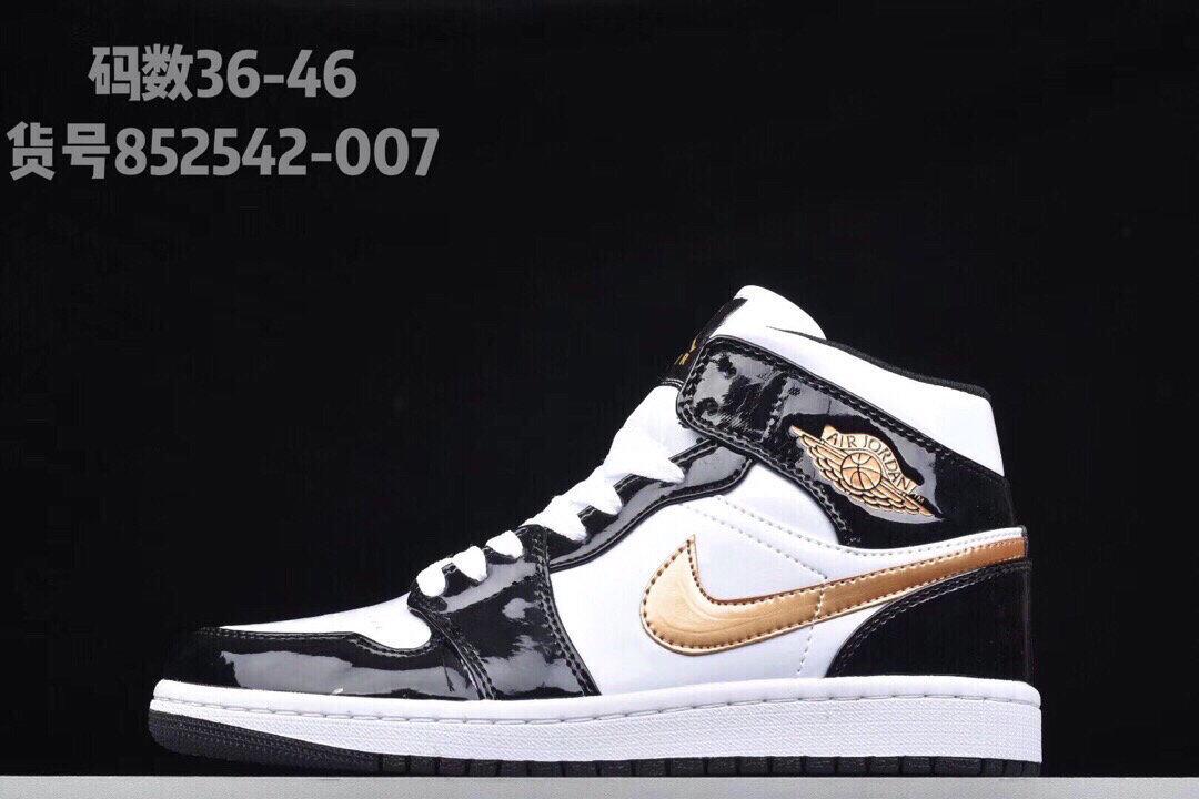 852542-007莆田鞋aj1小黑金脚趾潮篮球鞋852542-007