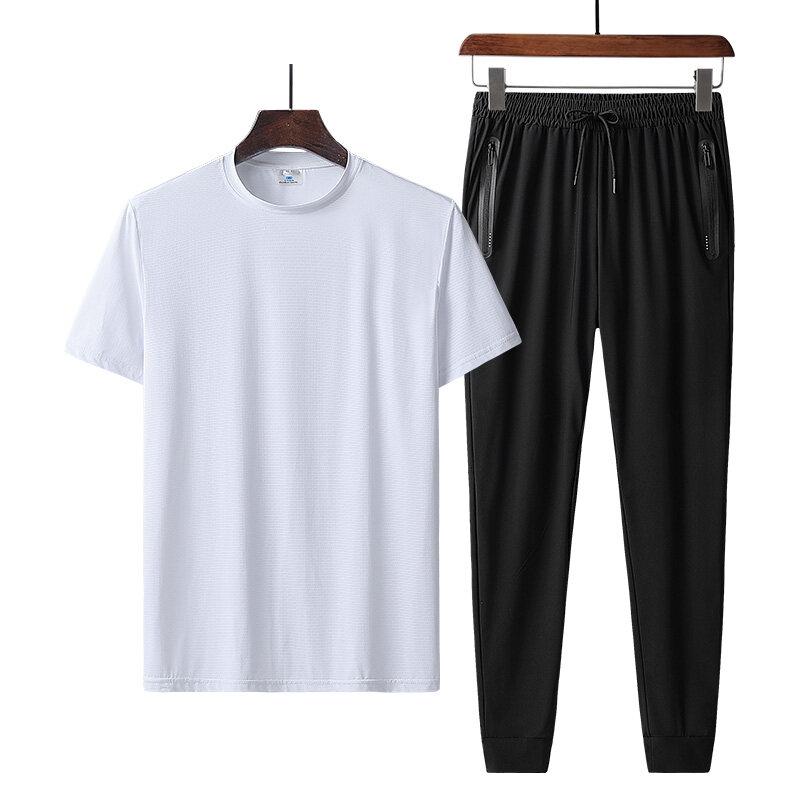 9801+1108运动休闲套装冰丝短袖圆领T恤冰丝长裤 9801+1108